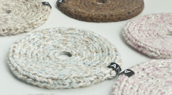 Knitted trivet and table decoration, 15x15 cm, leftovers thread in wool and cotton, knitted, several.