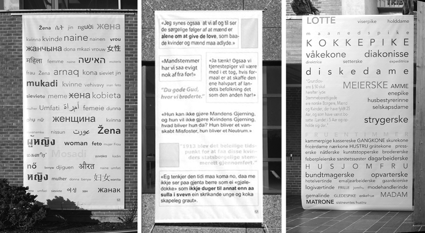 The three the banners mounted on buildings in downtown Førde.