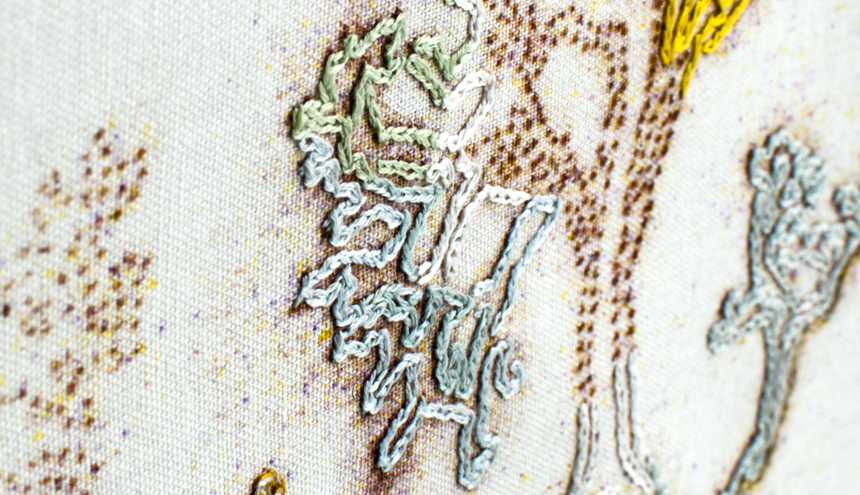 ‹Embroidery›, 2011, 30x40cm, embroidery, stitch, cotton thread (moulnegarn), cotton canvas, drawing, detail.