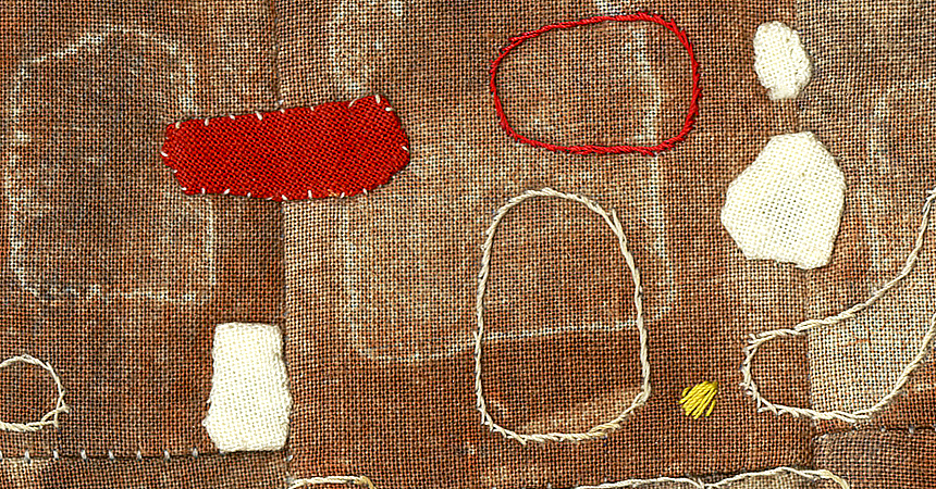 ‹Small Talk›, 2014, 20x30 cm, embroidery, patchwork seam, cotton canvas..., detail
